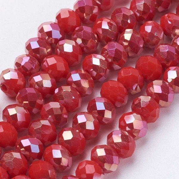 50 stuks Facet Glaskralen Rood Electroplate Shine 6x4mm