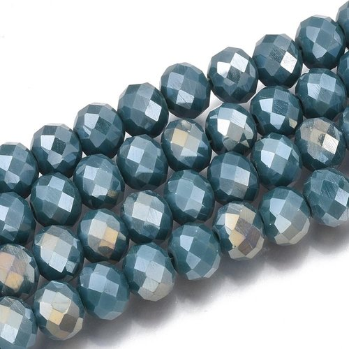 50 pieces Faceted Beads 6x4mm Dark Petrol Shine