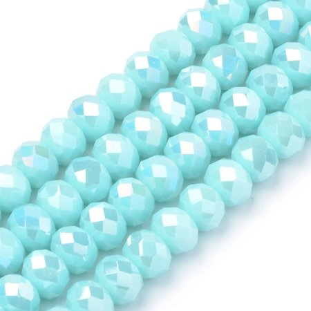30 pieces Faceted Beads 8x6mm Light Blue Shine