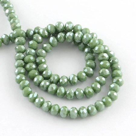 30 stuks Facet Glaskralen Olijf Groen Shine 8x6mm