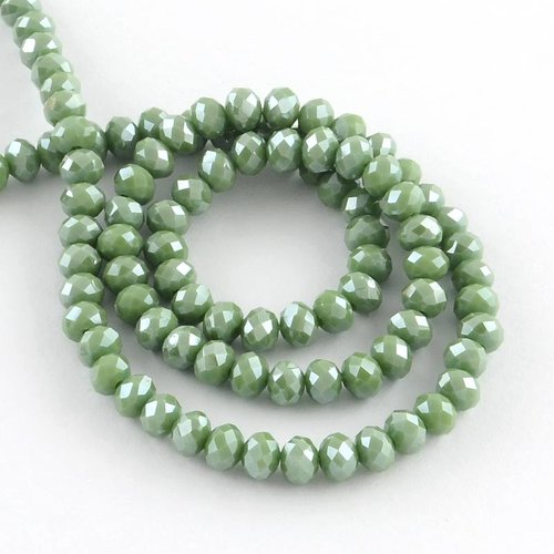30 pcs Faceted Green Bead Shine 8x6mm