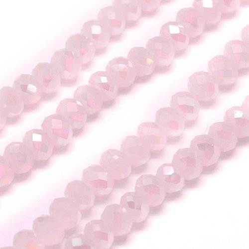 50 pieces Faceted Beads 6x4mm Pastel Pink Shine