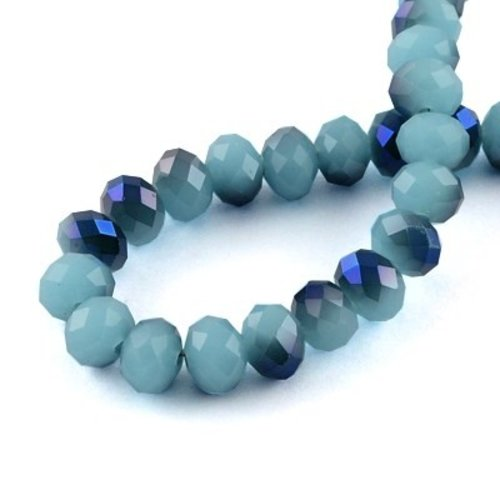50 pieces Faceted Beads 6x4mm Duo Blue Shine