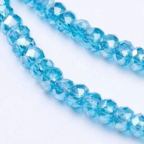 80 pcs Faceted Bead Aqua Blue Shine 3x2mm
