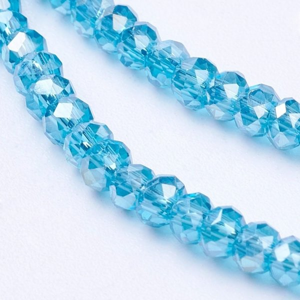 80 stuks Facet Glaskralen Aqua Blauw Shine 3x2mm