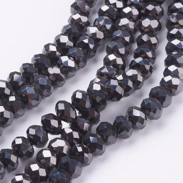 Facet Glaskralen Zwart Metallic 6x4mm, 50 stuks