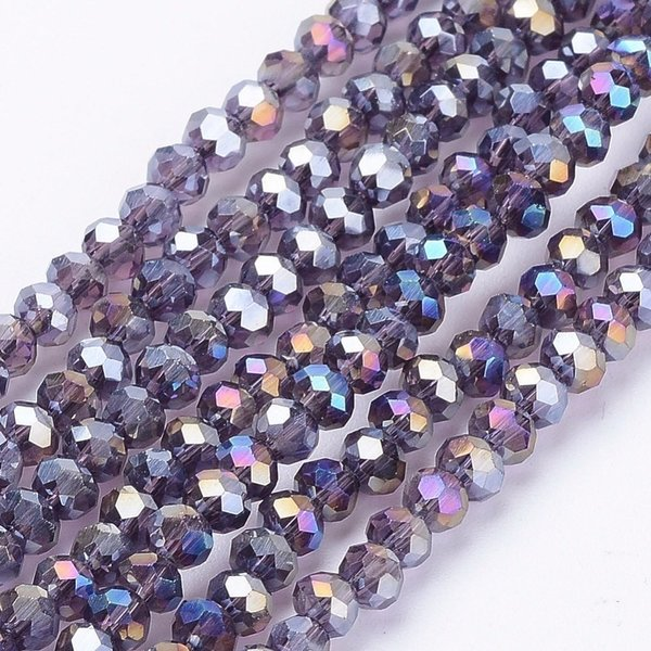 Faceted Glassbeads Vintage  Indigo Shine 3x2mm, 80 pieces