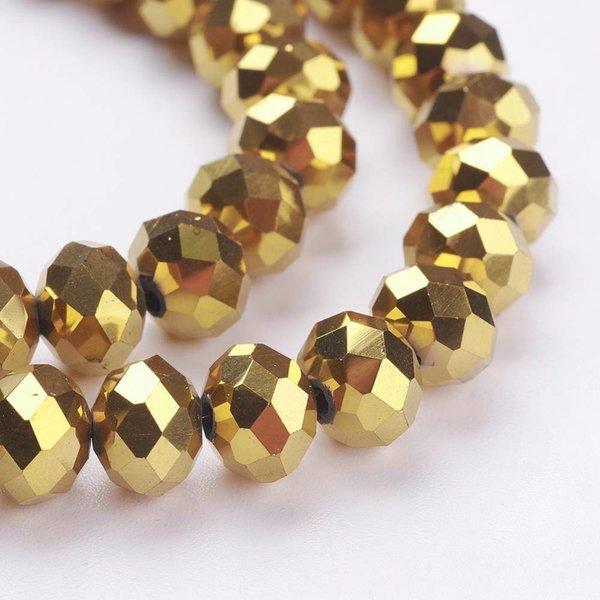 Facet Glaskralen Metallic Goud 4x3mm, 80 stuks