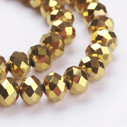 50 pieces Faceted Beads Metallic Gold 6x4mm