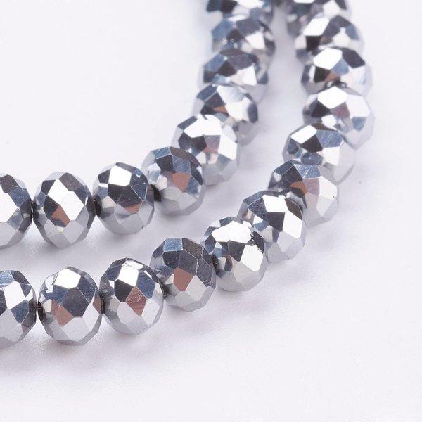 Facet Glaskralen Zilver Metallic 4x3mm, 80 stuks