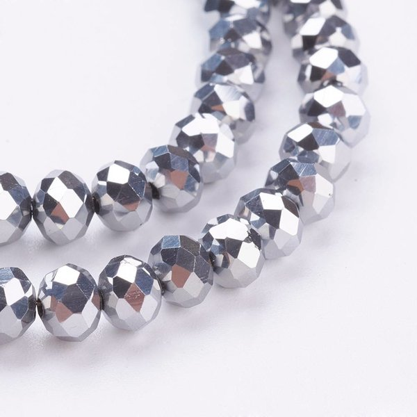Faceted Glassbeads Silver Metallic 4x3mm, 80 pieces