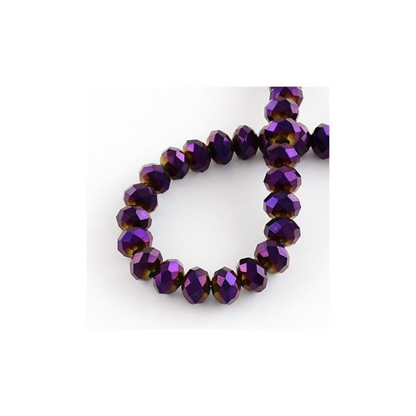 Faceted Glass Beads Metallic Purple 4x3mm, 80 pieces
