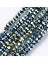 Facet Glaskralen Metallic Zeegroen 4x3mm, 80 stuks