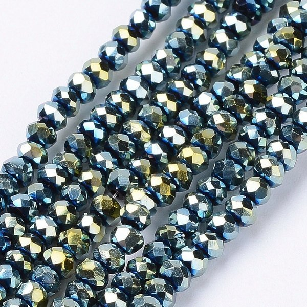 Faceted Glassbeads Metallic Sea Green 4x3mm, 80 pieces