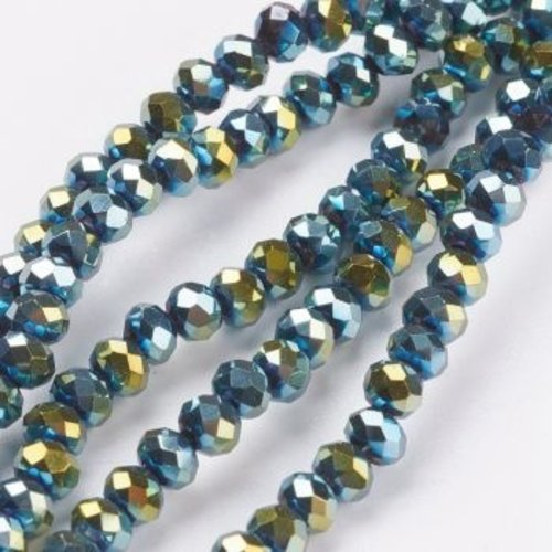 80 pieces Faceted Beads Metallic Sea Green 4x3mm
