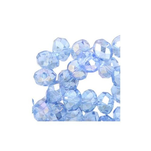 30 stuks Facet Glaskralen Blauw Shine 8x6mm