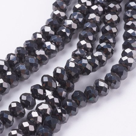 Faceted Beads Black Metallic 3.5x3mm, 80 pieces