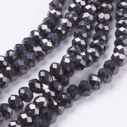 80 stuks Facet Glaskralen Zwart Metallic 3.5x3mm