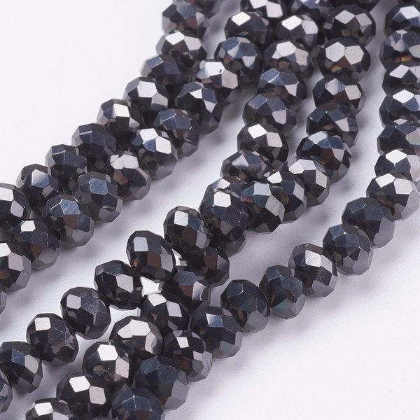 Faceted Glassbeads Black Metallic 3.5x3mm, 80 pieces