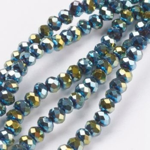 Faceted Glass beads Metallic Sea Green 6x4mm, 50 pieces