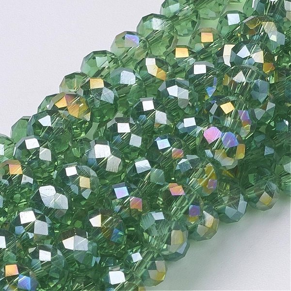 30 pcs Faceted Light Green Bead Shine 8x6mm