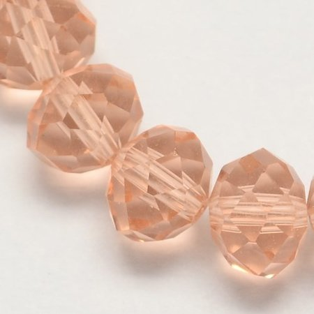 Faceted Glass Beads Clear Salmon 6x4mm, 50 pieces