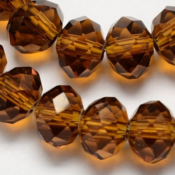Facet Glaskralen Amber 6x4mm, 50 stuks