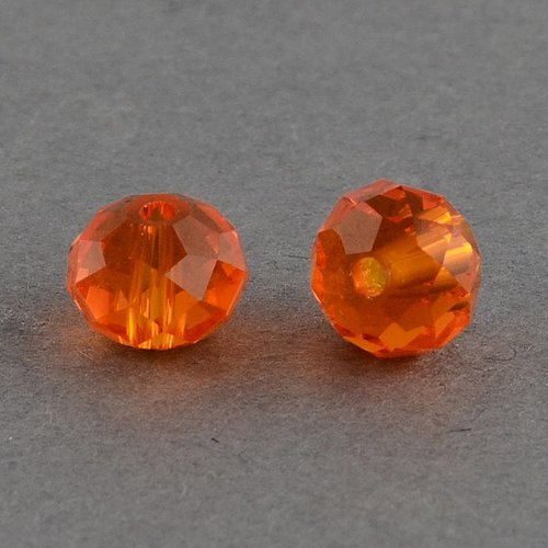 Faceted Glass Beads Clear Orange 6x4mm, 50 pieces