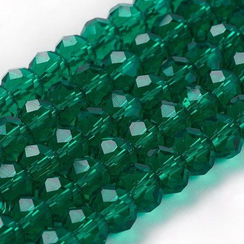 Facet Glaskralen Clear Groen 6x4mm, 50 stuks