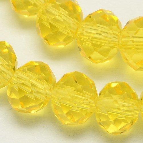 Facet Glaskralen Clear Geel 6x4mm, 50 stuks