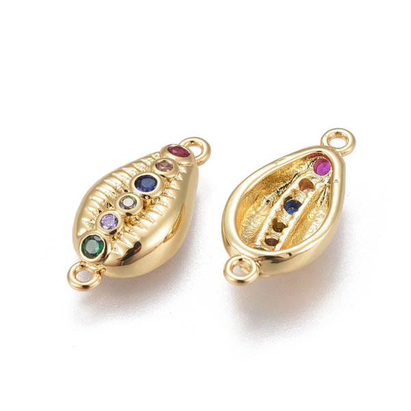 Luxurious Brass Connector Gold with Zirconia 18x9mm Shell