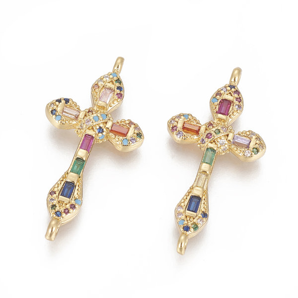 Luxurious Brass Connector Gold with Zirconia 33x16mm Cross