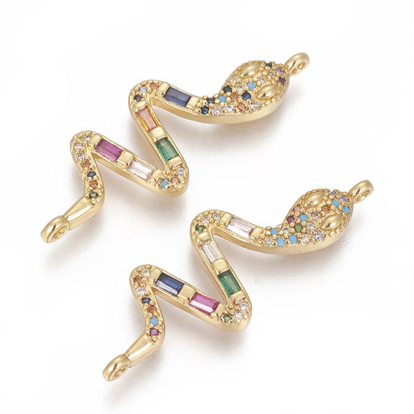 Luxurious Brass Connector Gold with Zirconia 35x13mm Snake