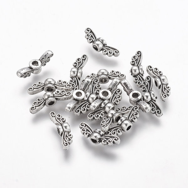 10 pieces Wing Beads Silver 14x4mm