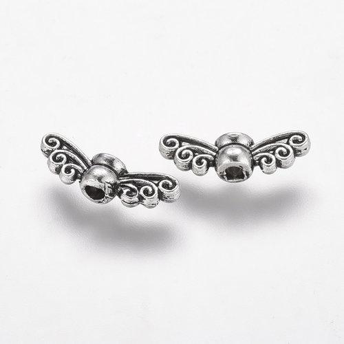 10 stuks Vleugel Kralen Zilver 14x4mm