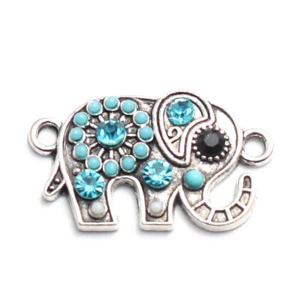 3 pieces Connector Elephant with Rhinestone Blue Silver 23x13mm