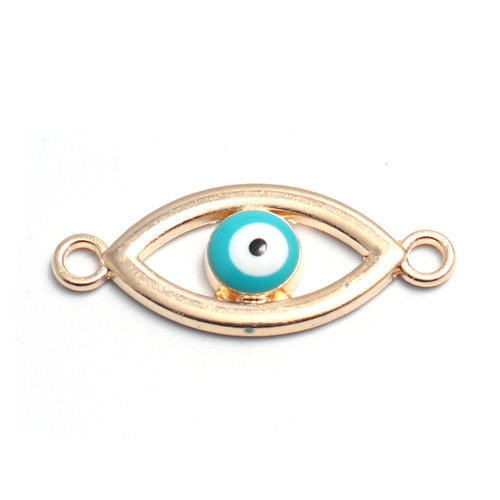 3 pieces Connector Eye Turquoise 27x11mm Gold Plated
