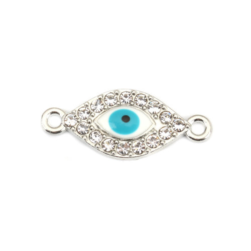 3 pieces Connector Eye Rhinestone Turquoise 26x11mm