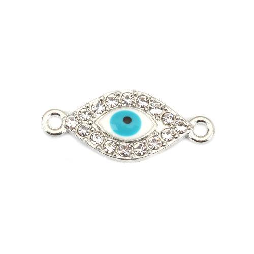 3 stuks Tussenzetsel Eye met Strass Turquoise 26x11mm