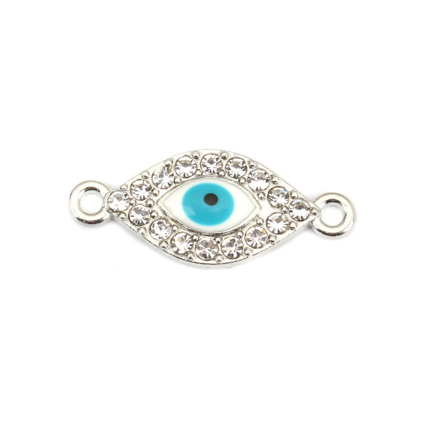 3 pieces Connector Eye with RhinestoneTurquoise Silver 26x11mm