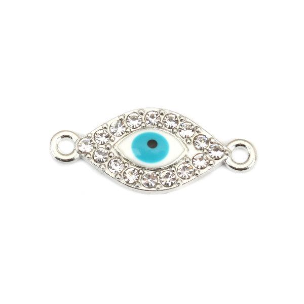 3 stuks Tussenzetsel Eye met Strass Turquoise Zilver 26x11mm