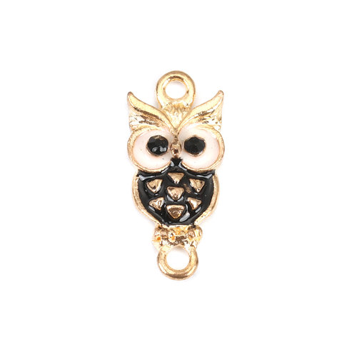 3 pieces Connector Owl Gold Plated Black and White 24x11mm
