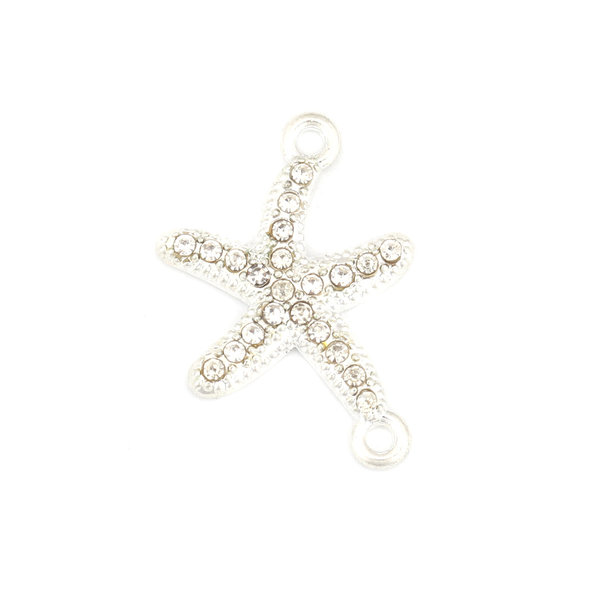 3 pieces Connector Star Fish with Crystal Rhinestone Silver 23x16mm