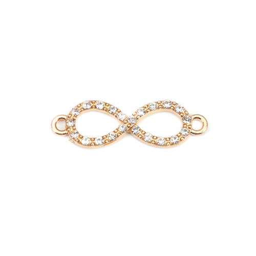 3 stuks Gold Plated Infinity met Crystal Strass 33x10mm
