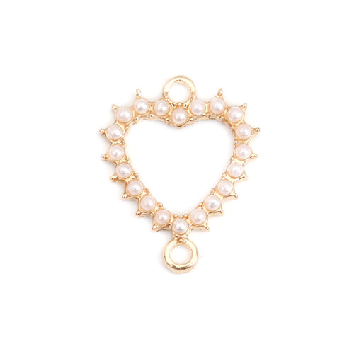 3 pieces Connector Heart with Pearls 20x16mm