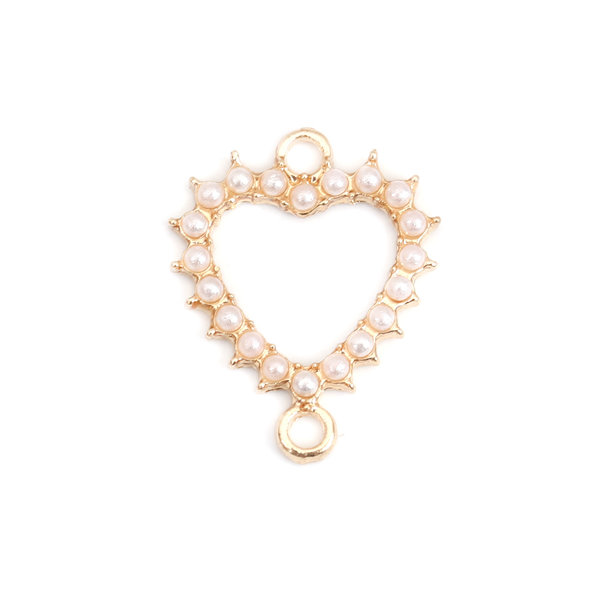 3 pieces Connector Golden Heart with Pearls 20x16mm
