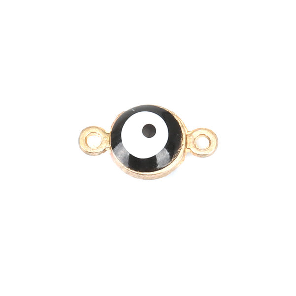 3 pieces Eye Connector Gold Plated Black 12x7mm