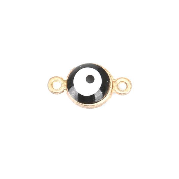 3 stuks Eye Tussenzetsel Gold Plated Zwart 12x7mm
