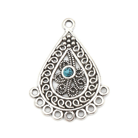 2 pieces Bohemian Connector Drop with Turquoise 42x31mm