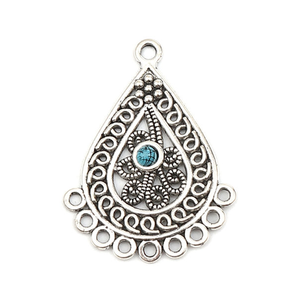 2 pieces Bohemian Connector Drop in Silver and Turquoise 42x31mm